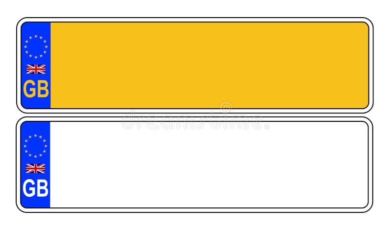 Βρετανικός μπροστινός και πίσω αριθμός πινακίδας αυτοκινήτου ελεύθερη απεικόνιση δικαιώματος