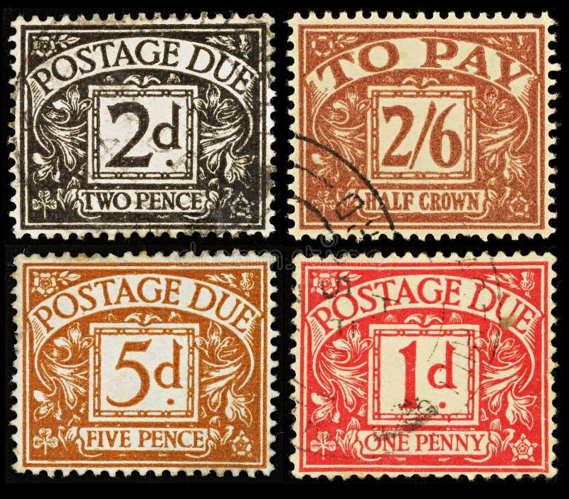 βρετανικός οφειλόμενος τρύγος γραμματοσήμων στοκ φωτογραφία