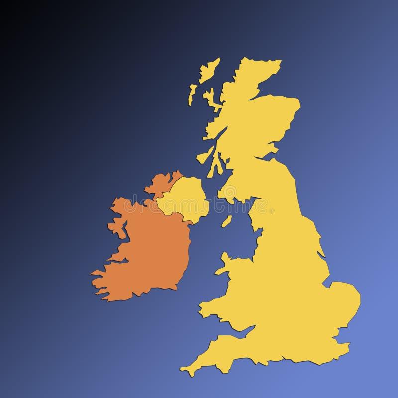 βρετανικός χάρτης νησιών Ιρλανδίας ελεύθερη απεικόνιση δικαιώματος