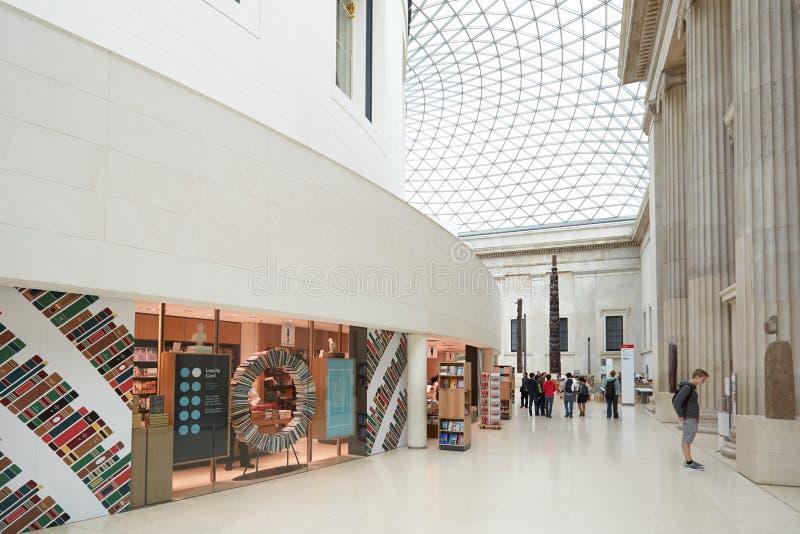 Βρετανικό εσωτερικό δικαστηρίου μουσείων μεγάλο, κατάστημα βιβλίων στο Λονδίνο στοκ φωτογραφία