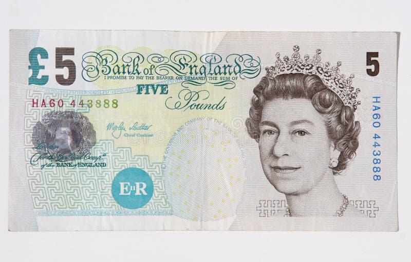 Βρετανοί πέντε σημειώνουν τη λίβρα στοκ φωτογραφίες με δικαίωμα ελεύθερης χρήσης