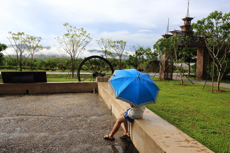 Βροχή και ομπρέλα στοκ εικόνα