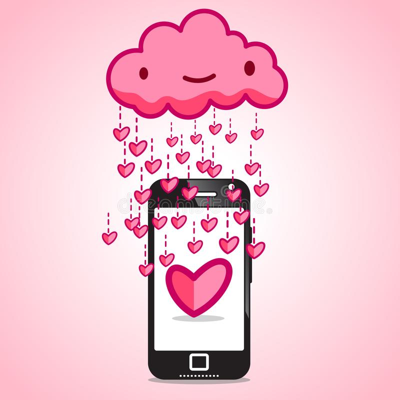 Βροχή των καρδιών σε ένα τηλέφωνο κυττάρων διανυσματική απεικόνιση