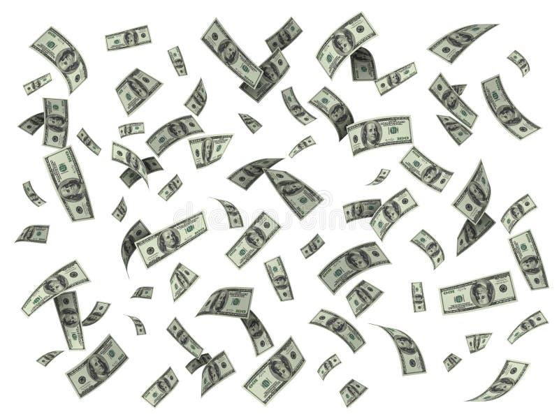 Βροχή των λογαριασμών εκατό δολαρίων διανυσματική απεικόνιση