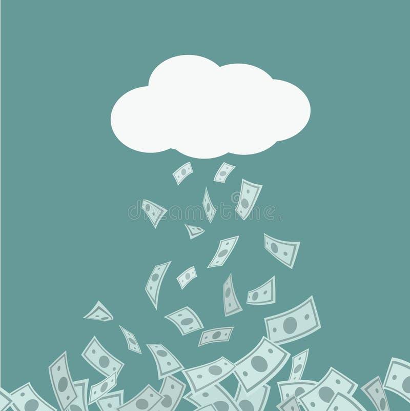 Βροχή χρημάτων που πέφτει από το σύννεφο χρυσή ιδιοκτησία βασικών πλήκτρων επιχειρησιακής έννοιας που φθάνει στον ουρανό συρμένη  ελεύθερη απεικόνιση δικαιώματος
