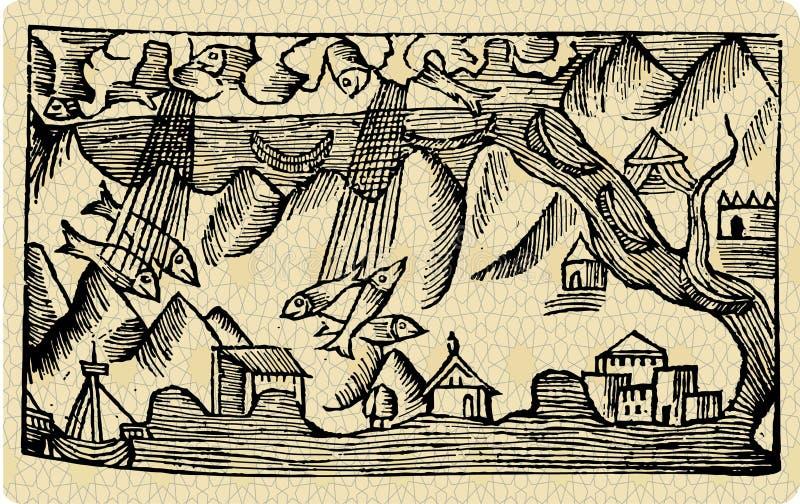 βροχή ψαριών διανυσματική απεικόνιση