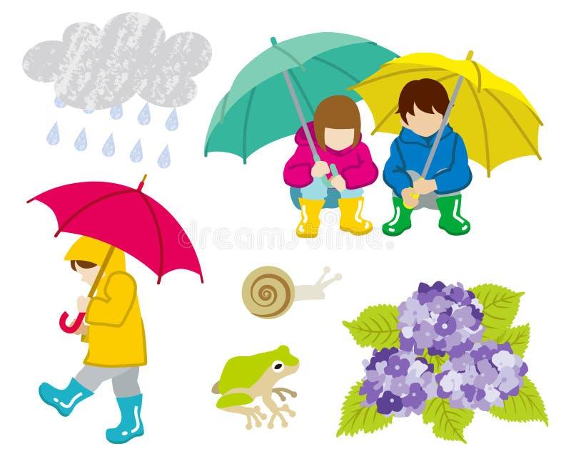 Βροχερό σύνολο τέχνης συνδετήρων παιδιών ημέρας διανυσματική απεικόνιση