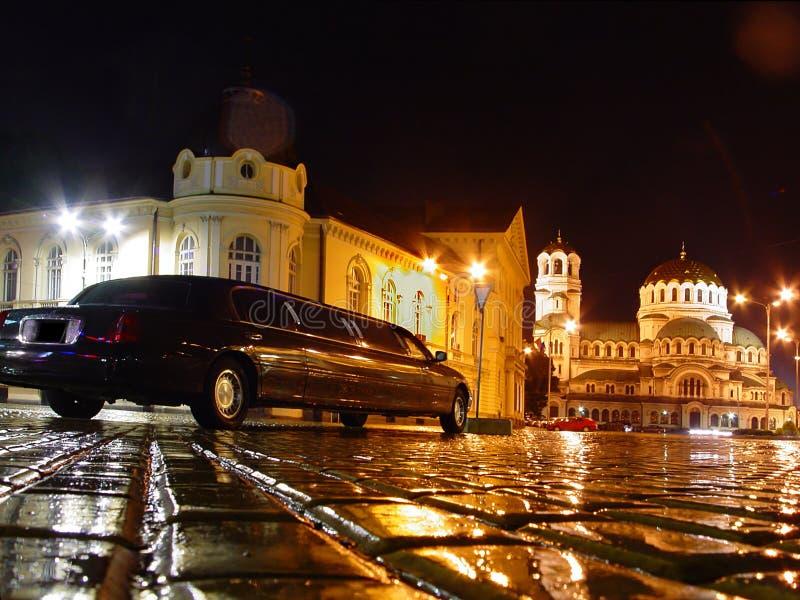 βροχερό τετράγωνο νύχτας στοκ φωτογραφίες