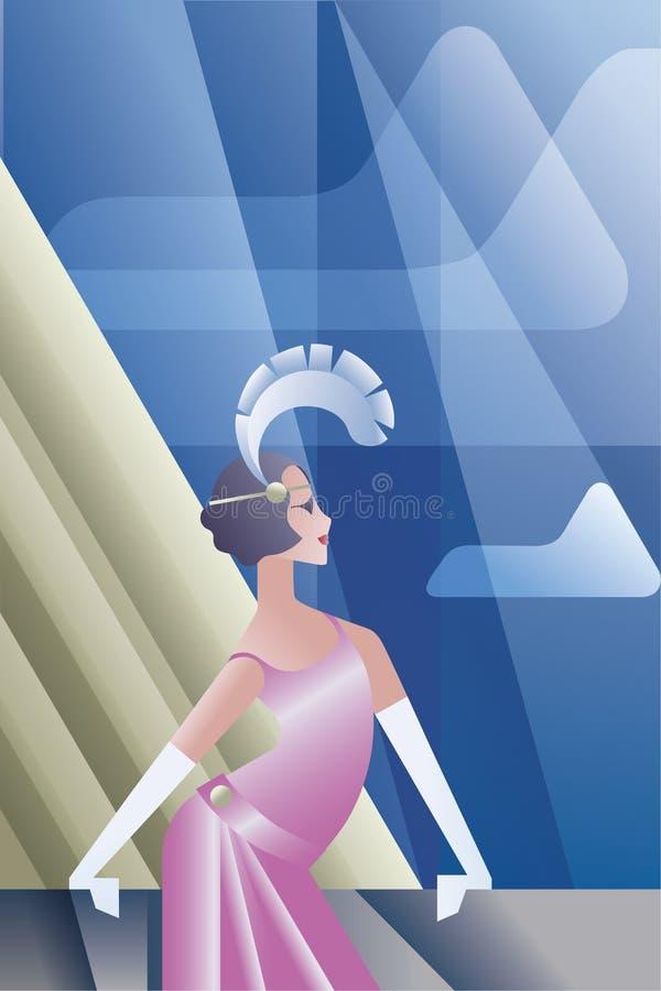 Βρυχηθμός της αφίσας της δεκαετίας του '20 με τον ουρανό ημέρας πτερυγίων απεικόνιση αποθεμάτων