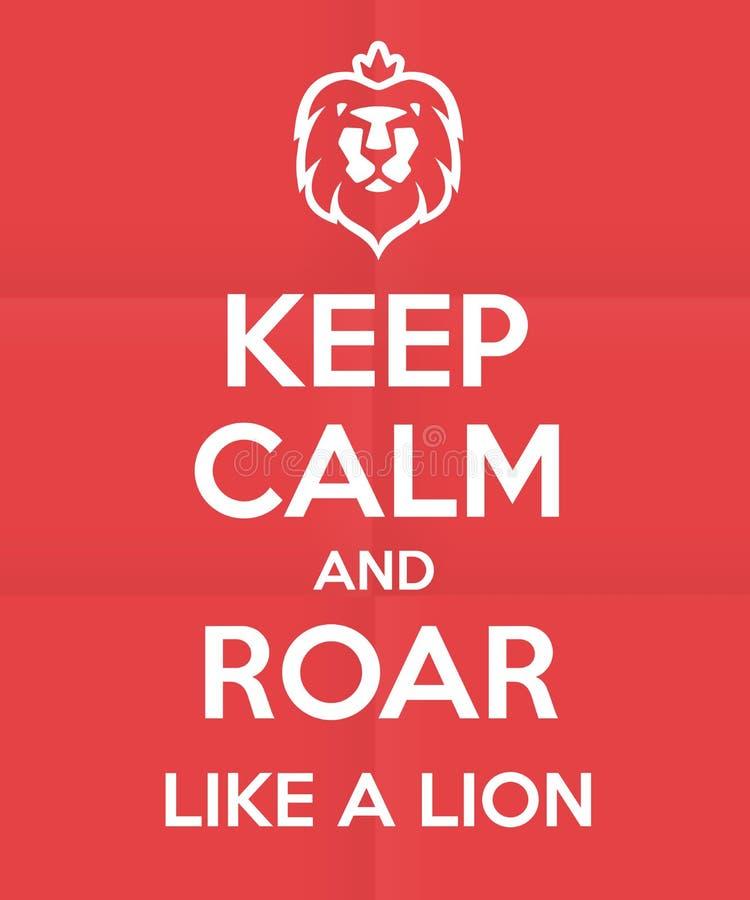 Βρυχηθμός όπως ένα σχέδιο αφισών λιονταριών διανυσματική απεικόνιση