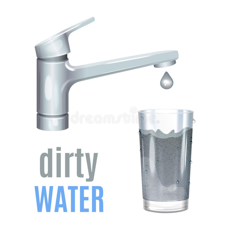 Βρύση με το βρώμικο νερό, λασπώδες νερό στο γυαλί, έννοια ρύπανσης απεικόνιση αποθεμάτων