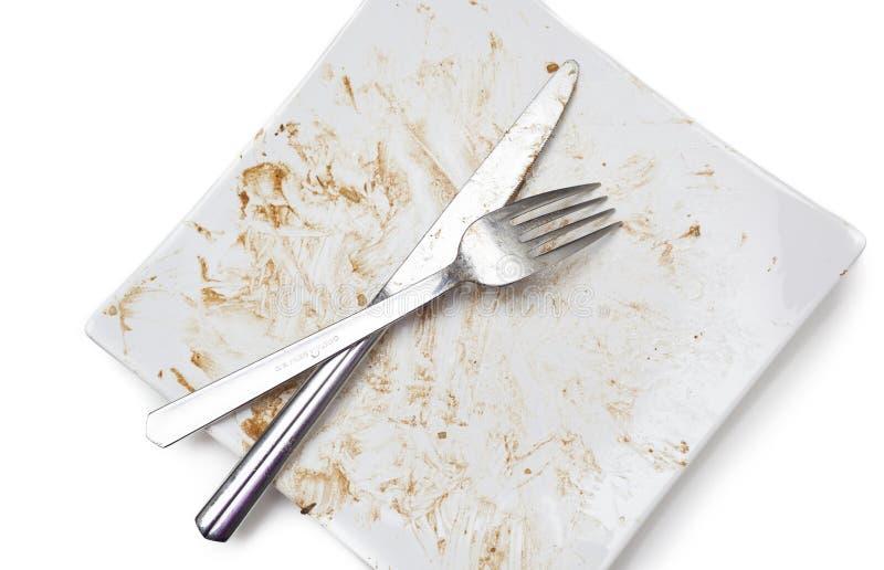 Βρώμικα δυσάρεστα πιάτα στοκ εικόνα με δικαίωμα ελεύθερης χρήσης