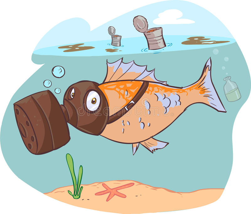Βρώμικα θάλασσα και ψάρια ελεύθερη απεικόνιση δικαιώματος