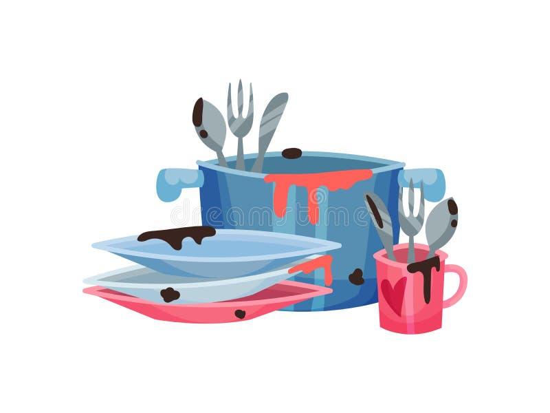 Βρώμικα μαχαιροπήρουνα στο τηγάνι και την κούπα E ελεύθερη απεικόνιση δικαιώματος