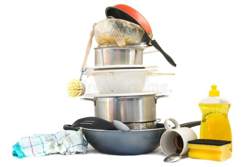 βρώμικα πιάτα στοκ εικόνες με δικαίωμα ελεύθερης χρήσης