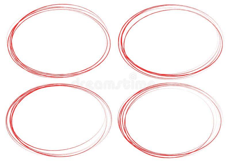 Βρώμικα στοιχεία κύκλων Κατασκευασμένοι, λερωμένοι περιγραμματικοί κύκλοι για γεια απεικόνιση αποθεμάτων