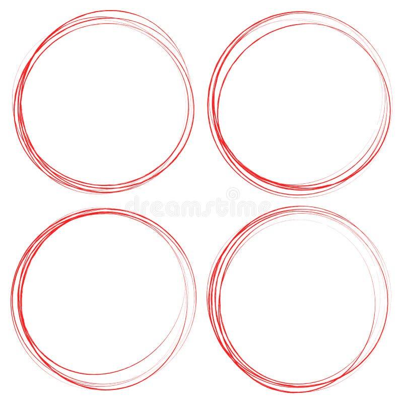 Βρώμικα στοιχεία κύκλων Κατασκευασμένοι, λερωμένοι περιγραμματικοί κύκλοι για γεια διανυσματική απεικόνιση