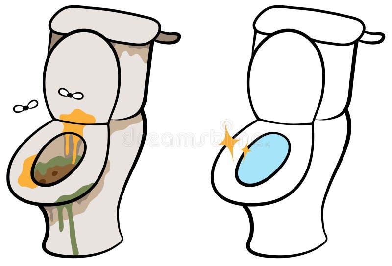 Βρώμικη και καθαρή τουαλέτα απεικόνιση αποθεμάτων
