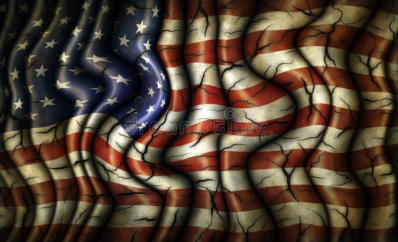 Βρώμικη ραγισμένη παλαιά Ηνωμένη σημαία ελεύθερη απεικόνιση δικαιώματος