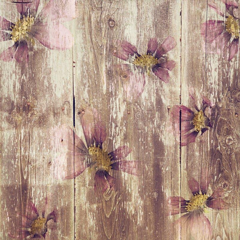 Βρώμικη σύσταση σχεδίων λουλουδιών ξύλινη απεικόνιση αποθεμάτων