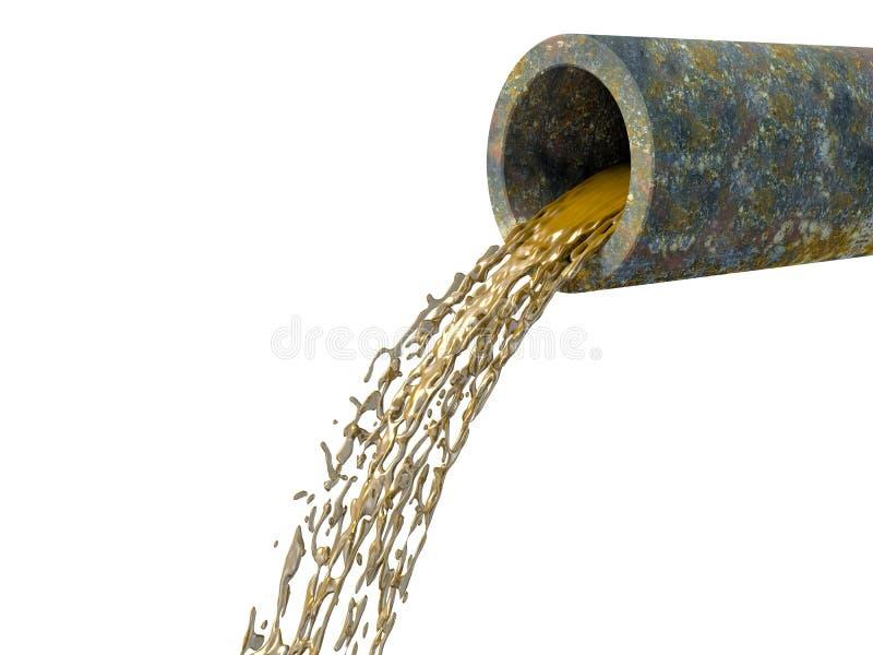 Βρώμικοι μίσχοι νερού από το σκουριασμένο σωλήνα απεικόνιση αποθεμάτων