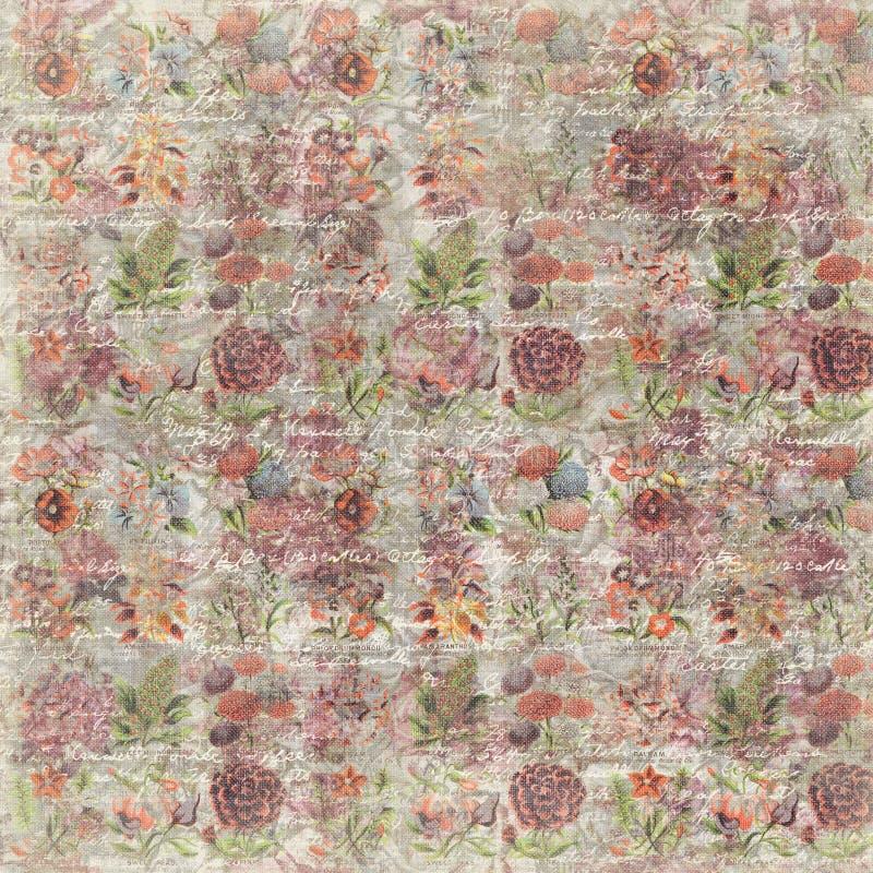 Βρώμικος εκλεκτής ποιότητας αυξήθηκε λουλούδι που το βοτανικό υπόβαθρο ταπετσαριών επαναλαμβάνει στοκ εικόνες