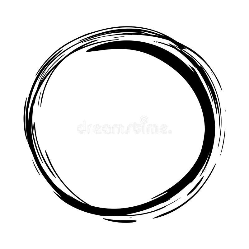 Βρώμικος στρογγυλός κύκλος μελανιού διανυσματική απεικόνιση