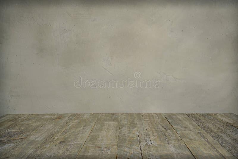 Βρώμικος συμπαγής τοίχος και ξύλινο πάτωμα στοκ εικόνες