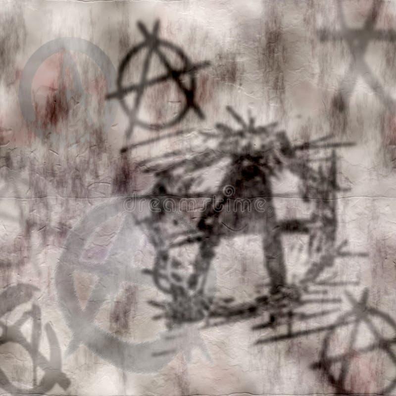 βρώμικος τοίχος γκράφιτι αναρχίας διανυσματική απεικόνιση