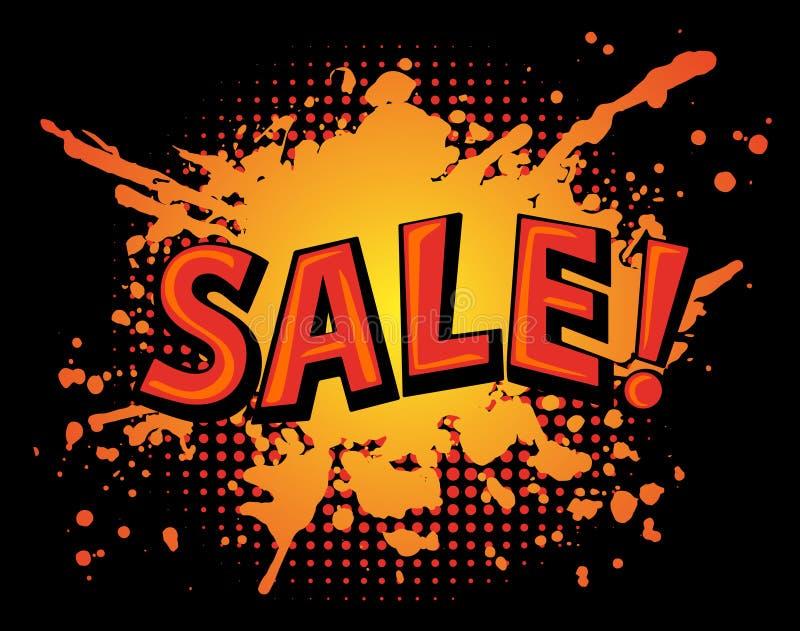 Βρώμικο έμβλημα πώλησης λεκέδων Splatter χρωμάτων στο μαύρο υπόβαθρο απεικόνιση αποθεμάτων