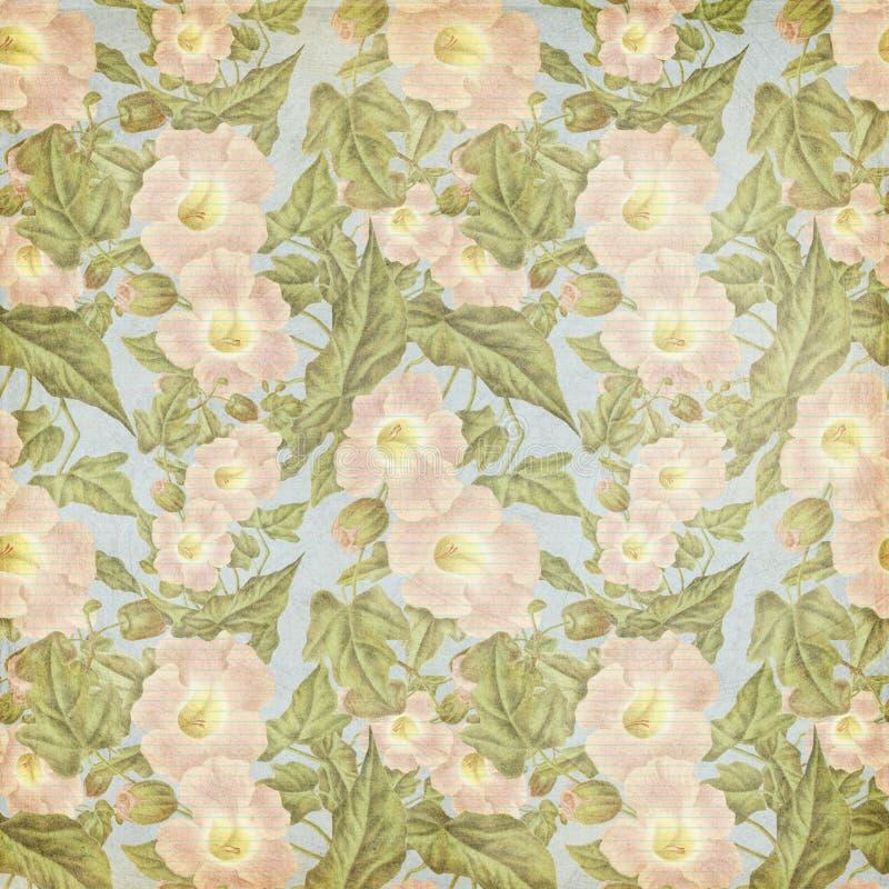 Βρώμικο εκλεκτής ποιότητας παλαιό ρόδινο πρότυπο λουλουδιών διανυσματική απεικόνιση
