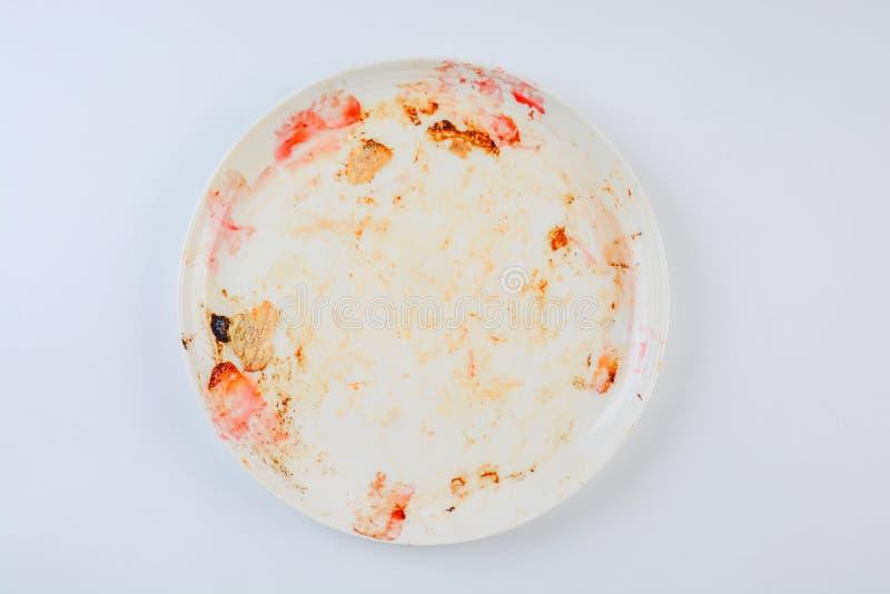 Βρώμικο και κενό πιάτο στοκ φωτογραφία με δικαίωμα ελεύθερης χρήσης