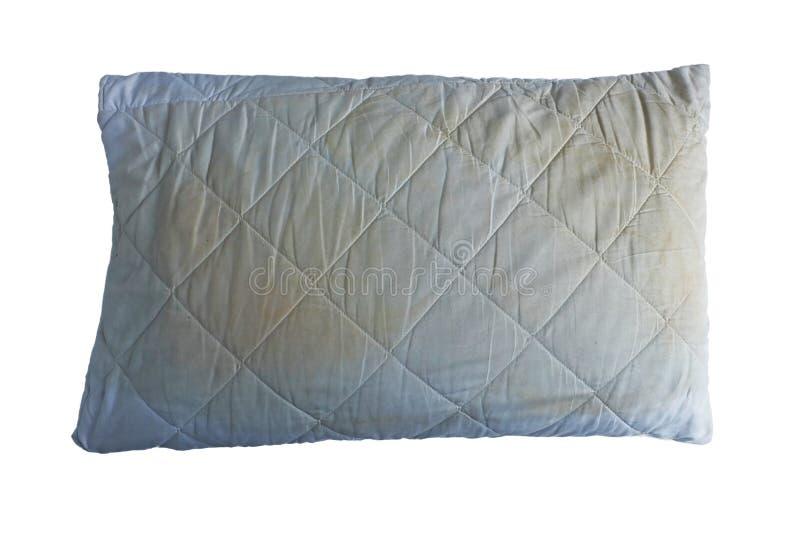 Βρώμικο μαξιλάρι που απομονώνεται στο άσπρο υπόβαθρο στοκ εικόνα