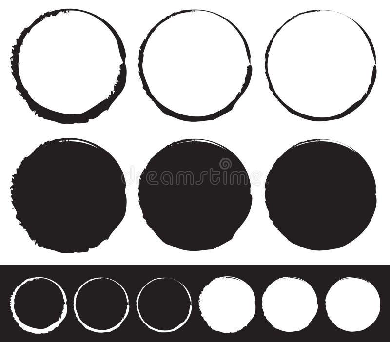 Βρώμικο στοιχείο κύκλων καθορισμένο - κύκλοι με το λεκιασμένο, λερωμένο χρώμα απεικόνιση αποθεμάτων