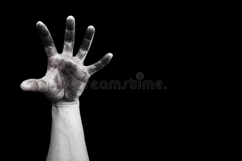 Βρώμικο χέρι στο Μαύρο στοκ φωτογραφία με δικαίωμα ελεύθερης χρήσης