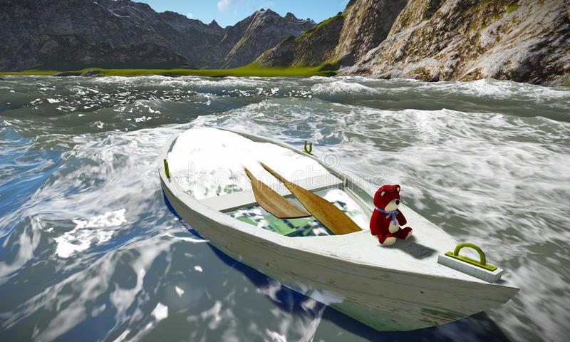 Βυθίζοντας βάρκα με τη teddy αρκούδα στοκ φωτογραφία με δικαίωμα ελεύθερης χρήσης