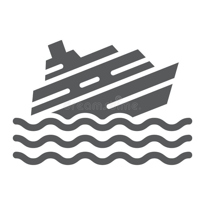 Βυθίζοντας εικονίδιο σκαφών glyph, καταστροφή και νερό, σημάδι καταστροφής βαρκών, διανυσματική γραφική παράσταση, ένα στερεό σχέ ελεύθερη απεικόνιση δικαιώματος