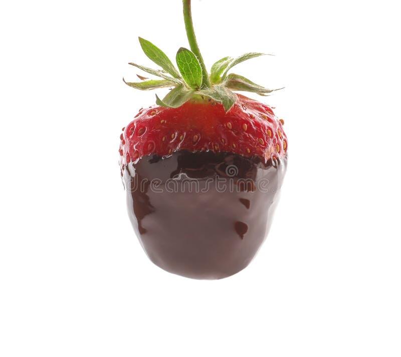 Βυθισμένη σοκολάτα φράουλα στο άσπρο υπόβαθρο στοκ εικόνες