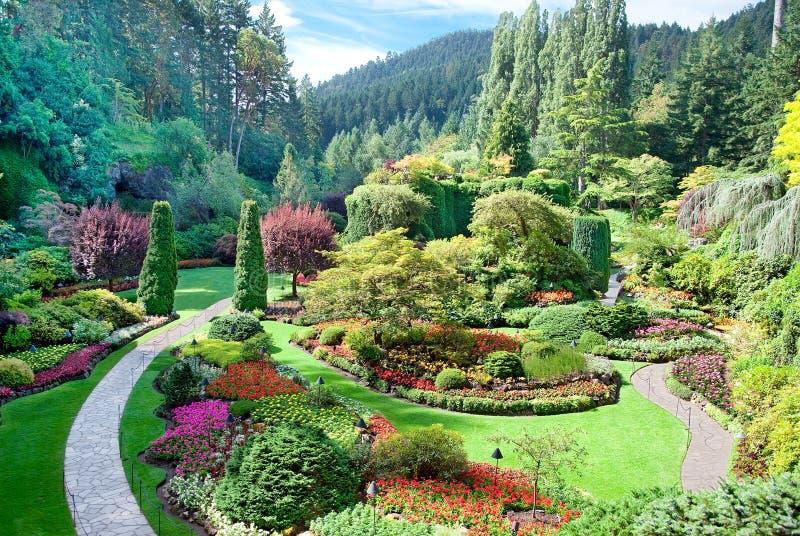 Βυθισμένος κήπος στους κήπους Butchart, κεντρικό Saanich, βρετανικό Colu στοκ φωτογραφία με δικαίωμα ελεύθερης χρήσης