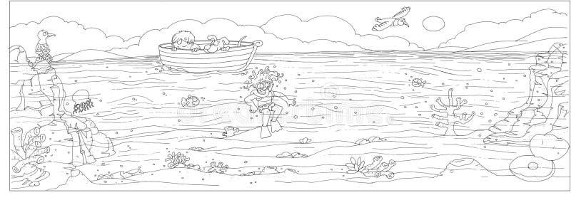 Βυθός με τη βάρκα στο παιδί και το σκυλί και τους γλάρους κατάδυσης και θάλασσα, ράχη που σύρεται από το χρώμα ελεύθερη απεικόνιση δικαιώματος