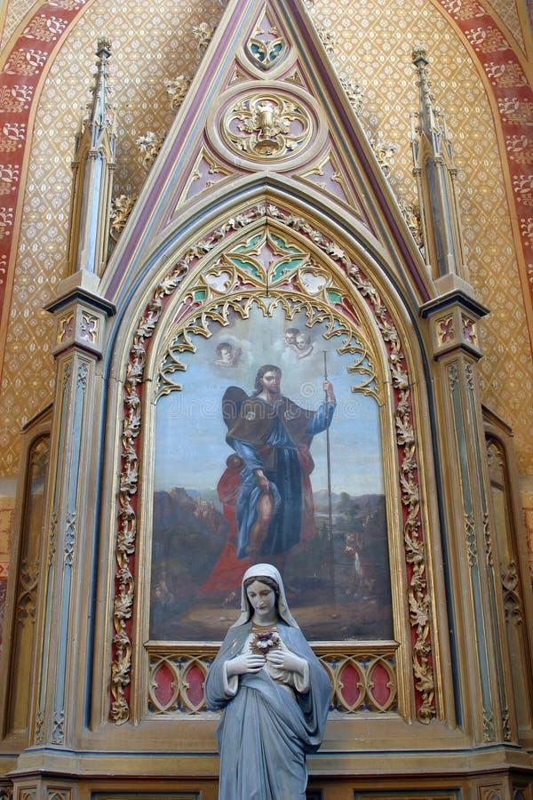 Βωμός Αγίου Roch στην εκκλησία Αγίου Peter σε Velesevec, Κροατία στοκ εικόνες