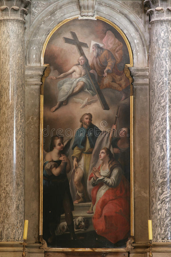 Βωμός του ST Roch, εκκλησία Αγίου Euphemia, Rovinj στοκ εικόνες