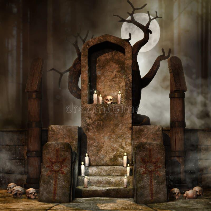 Βωμός φαντασίας στο δάσος απεικόνιση αποθεμάτων