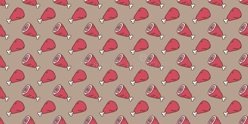 Βόειου κρέατος χοιρινού κρέατος αρνιών ολόκληρο ποδιών άνευ ραφής υπόβαθρο ταπετσαριών σχεδίων διανυσματικό απομονωμένο doodle διανυσματική απεικόνιση