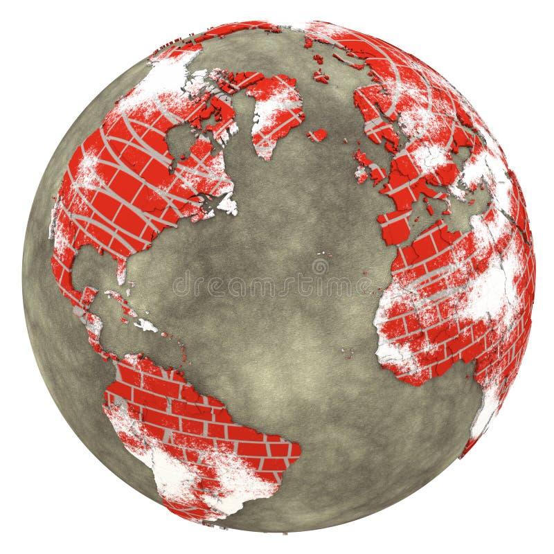 Βόρεια Αμερική και Ευρώπη στη γη τουβλότοιχος ελεύθερη απεικόνιση δικαιώματος
