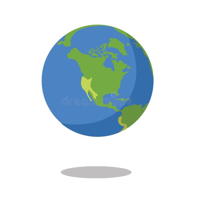 Βόρεια Αμερική που απομονώνεται στην άσπρη διανυσματική απεικόνιση εικονιδίων πλανήτη Γη υποβάθρου επίπεδη διανυσματική απεικόνιση