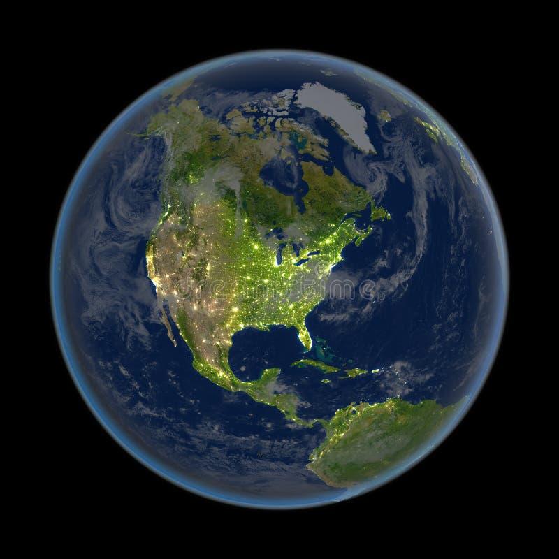 Βόρεια Αμερική τη νύχτα από το διάστημα απεικόνιση αποθεμάτων