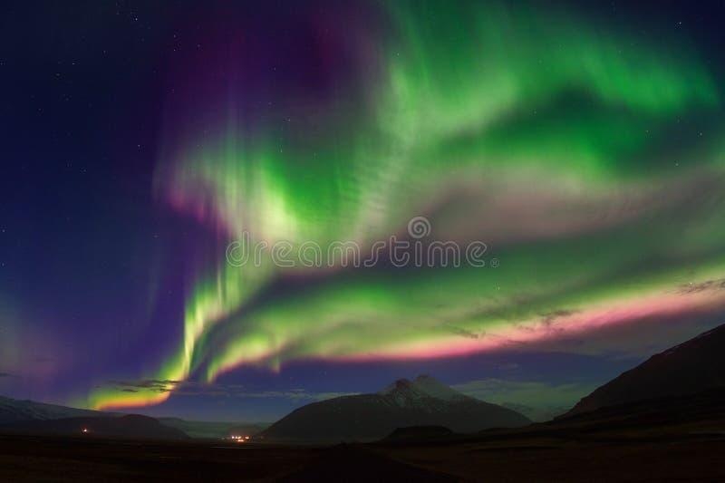 Βόρεια αυγή Borealis φω'των τη νύχτα στοκ φωτογραφίες με δικαίωμα ελεύθερης χρήσης
