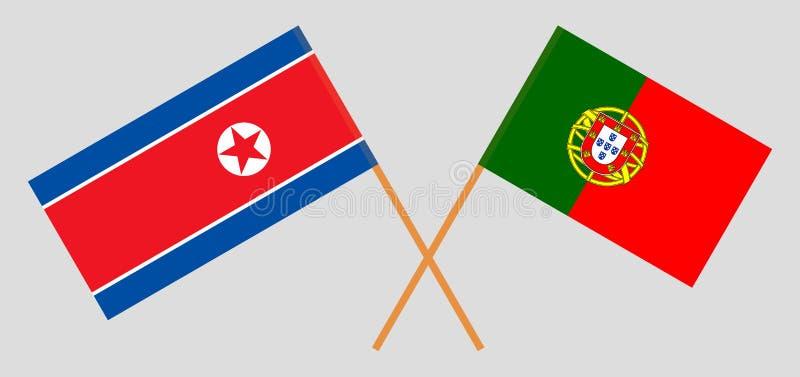 Βόρεια Κορέα και Πορτογαλία Οι κορεατικές και πορτογαλικές σημαίες Επίσημα χρώματα Σωστή αναλογία r ελεύθερη απεικόνιση δικαιώματος