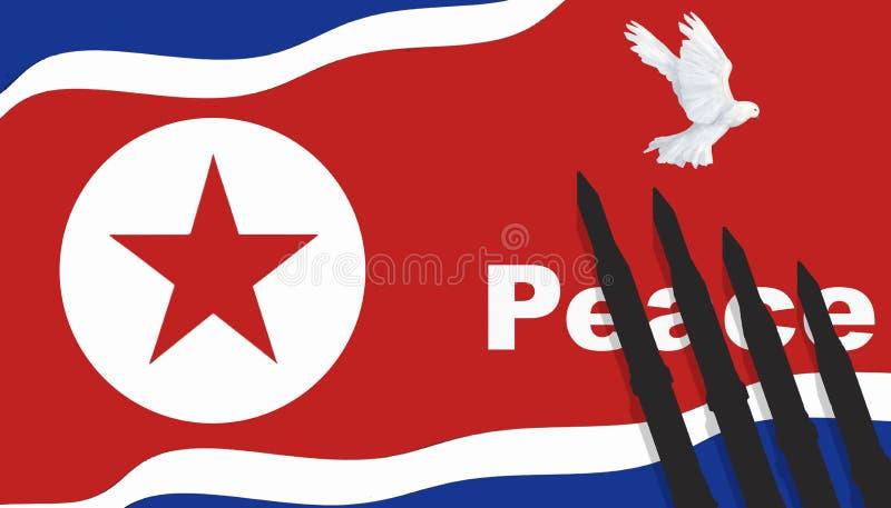 Βόρεια Κορέα, πυρηνική βόμβα, πυρηνική δοκιμή, πύραυλοι στην ειρήνη και το περιστέρι απεικόνισης Βόρεια Κορεών σημαιών απεικόνιση αποθεμάτων